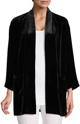 Eileen Fisher Silk-Blend Open Front Cardigan