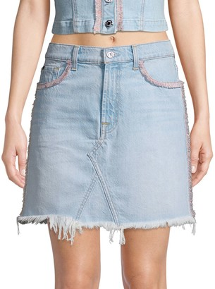 7 For All Mankind Fringed Denim Mini Skirt