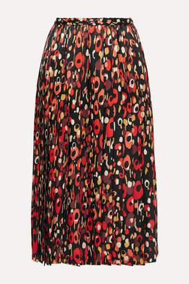 Junya Watanabe Pleated Printed Silk-satin Midi Skirt - Black