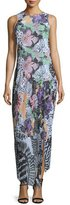 Just Cavalli Orchid Asymmetric Fish-Print Maxi Dress, Multi