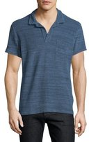 Orlebar Brown Terry Melange Short-Sleeve Polo Shirt, Navy