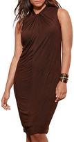 Lauren Ralph Lauren Plus Twist Neck Jersey Dress