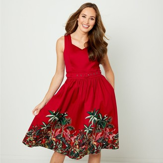 Joe Browns Sleeveless Flared Midi Dress in Tropical Embroideren Cotton with Belt