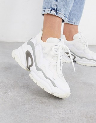 Ash Bang chunky wedged trainers in white