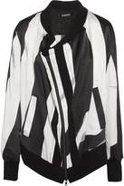 Ann Demeulemeester Cutout Striped Silk-Blend Satin Bomber Jacket