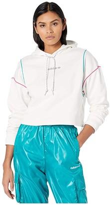 adidas Cropped Hoodie (White) Women's Sweatshirt