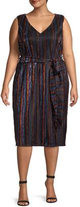 Rachel Roy Plus Metallic Striped Knee-Length Dress