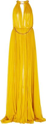 Oscar de la Renta Embellished Pleated Silk Gown