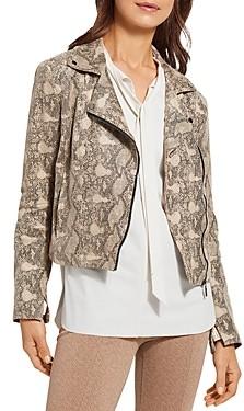 Lysse Snakeskin Print Faux Leather Moto Jacket