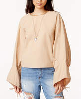 J.o.a. Cotton Oversized Tie-Sleeve Top