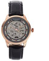 Akribos XXIV Men's Enterprise Leather Automatic Skeleton Watch