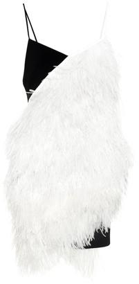 David Koma Feather-trimmed minidress