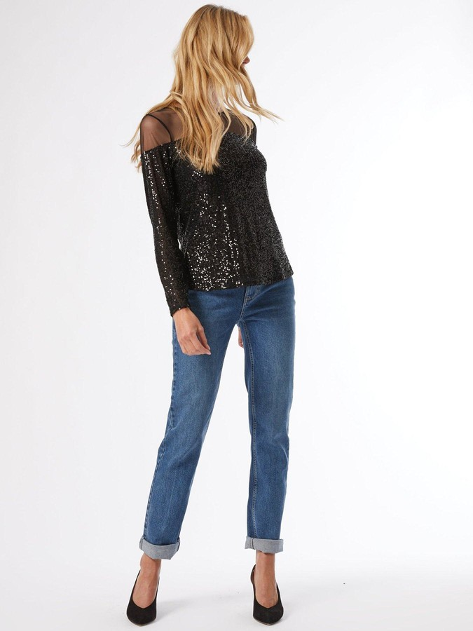Thumbnail for your product : Dorothy Perkins Mesh Insert Sequin Long Sleeve Top - Black