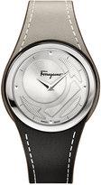 Salvatore Ferragamo Women's Swiss Gancino Chic Gray & Black Leather Strap Watch 35mm FID010015