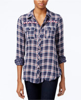 Miss Me Embroidered Plaid Shirt