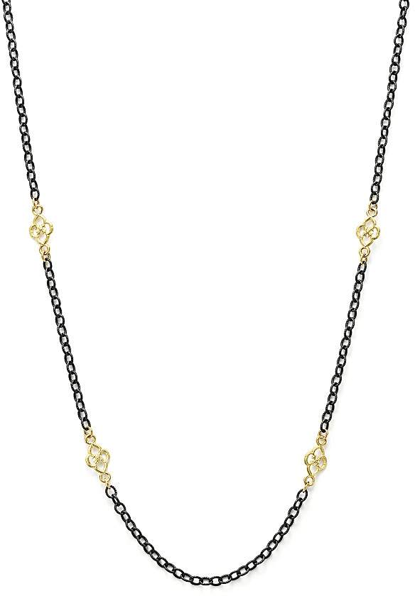"""Armenta 18K Yellow Gold and Blackened Sterling Silver Old World Cable Chain Necklace, 18"""""""