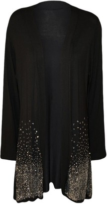 H&F Girls Malaika Women Ladies Plain Open Drape Hanky Hem Baggy Fit Thin Waterfall Full Sleeve Plain Sparkle Sequin Truly Plus Size Top Shirt Boyfriend Cardigan 12 14 16 18 20 22 24 26 28 30 Black