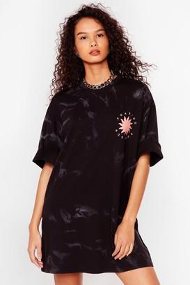 Nasty Gal Womens Chasing the Sun Acid Wash Tee Dress - Black - S, Black