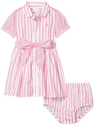 Polo Ralph Lauren Kids Striped Dress Bloomer (Infant) (Baja Pink/White) Girl's Clothing