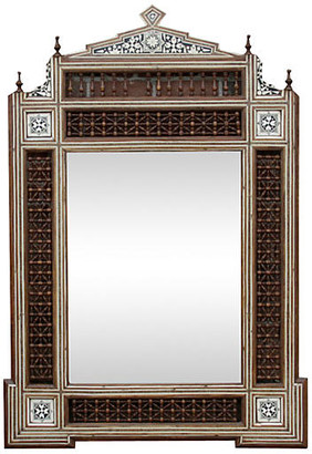 One Kings Lane Vintage Syrian Carved Mirror with Bone Inlay - de-cor - brown/multi