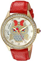 Betsey Johnson Women's Quartz Metal and Leather Automatic Watch, Color:Red (Model: BJ00131-76)