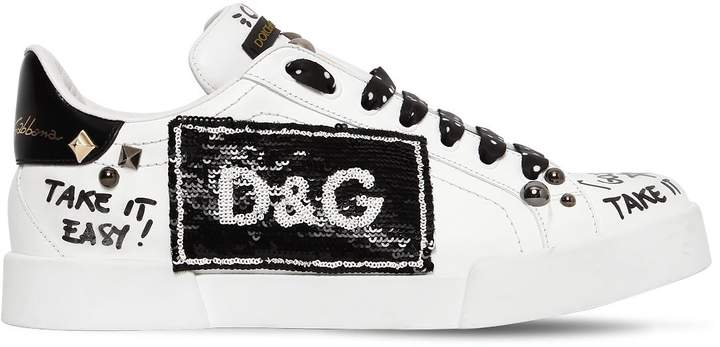 Dolce & Gabbana 30mm Sequined & Studded Leather Sneakers