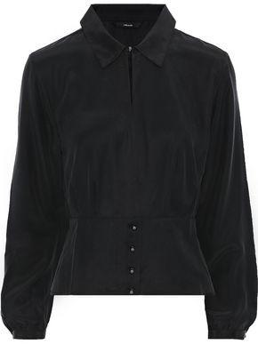 J Brand Lindsay Washed-silk Peplum Blouse