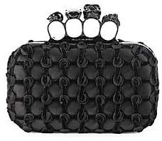 Alexander McQueen Women's Skull Four-Ring Rosette Leather Box Clutch