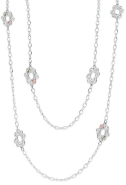 Black Hills Gold Long Necklace in Sterling Silver with 12K Rose and Green Gold