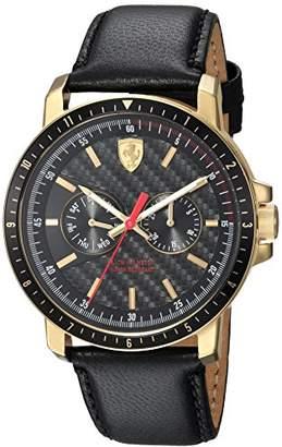 Ferrari Men's Turbo Stainless Steel Quartz Watch with Leather Strap