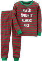 "Carter's Toddler Never Naughty Always Nice"" Thermal Striped Top & Bottoms Pajama Set"