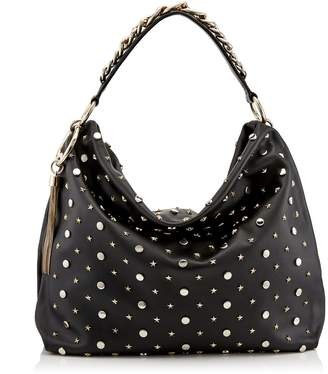 Jimmy Choo CALLIE/L Black Nappa Leather Slouchy Shoulder Bag with Star and Rounds Studs