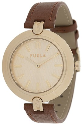 Furla Round Shape Leather Watch