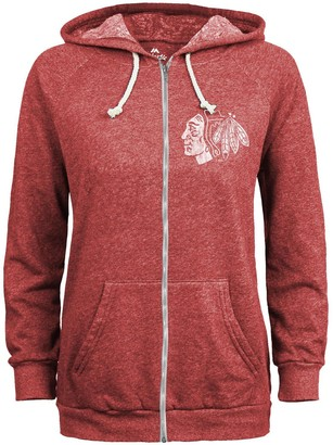 Majestic Women's Threads Red Chicago Blackhawks Team Color Tonal Primary Tri-Blend Full-Zip Hoodie