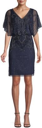 Aidan Mattox Beaded Art-Deco Sheath Dress