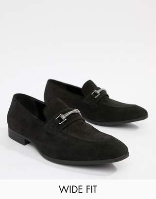 Asos Design DESIGN Wide Fit loafers in black faux suede with snaffle detail
