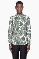 Givenchy White and green Paisley Print Slim Shirt