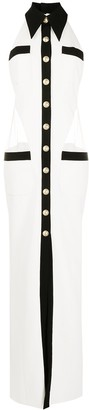 Balmain Panelled Halterneck Shirt Dress