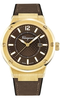 Salvatore Ferragamo F-80 Brown Guilloche Analog Dial Watch, 44mm