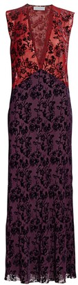 Marina Moscone Floral Burnout Velvet Maxi Dress