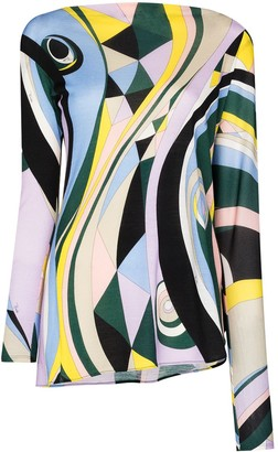 Emilio Pucci Occhi-print asymmetric long-sleeve top
