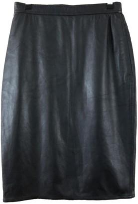 Ungaro Parallele Black Leather Skirt for Women Vintage