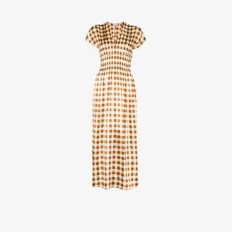 Ganni Check print silk dress