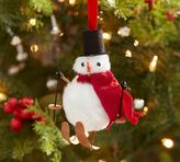 Pottery Barn Skiing Snowman Ornament
