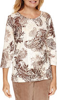 Alfred Dunner Twilight Point 3/4 Sleeve Paisley Print Top