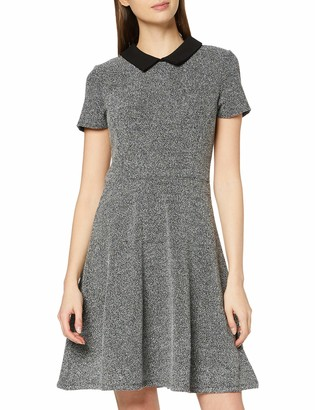 Dorothy Perkins Women's Black Collar Jacquard Fit and Flare Dress 18