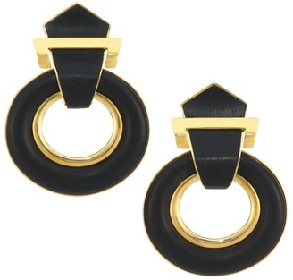 David Webb Woodworks 18K Yellow Gold & Ebony Doorknocker Clip-On Earrings