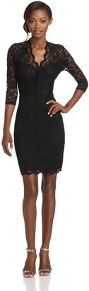 Karen Kane Women's V-Neck Scallop Lace Dress
