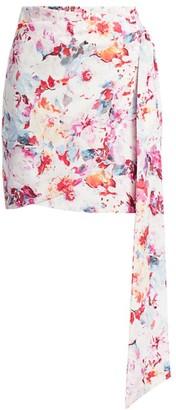 Andamane Floral Side Drape Mini Wrap Pencil Skirt
