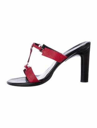 Barbara Bui Embossed Leather Strap Sandals Red